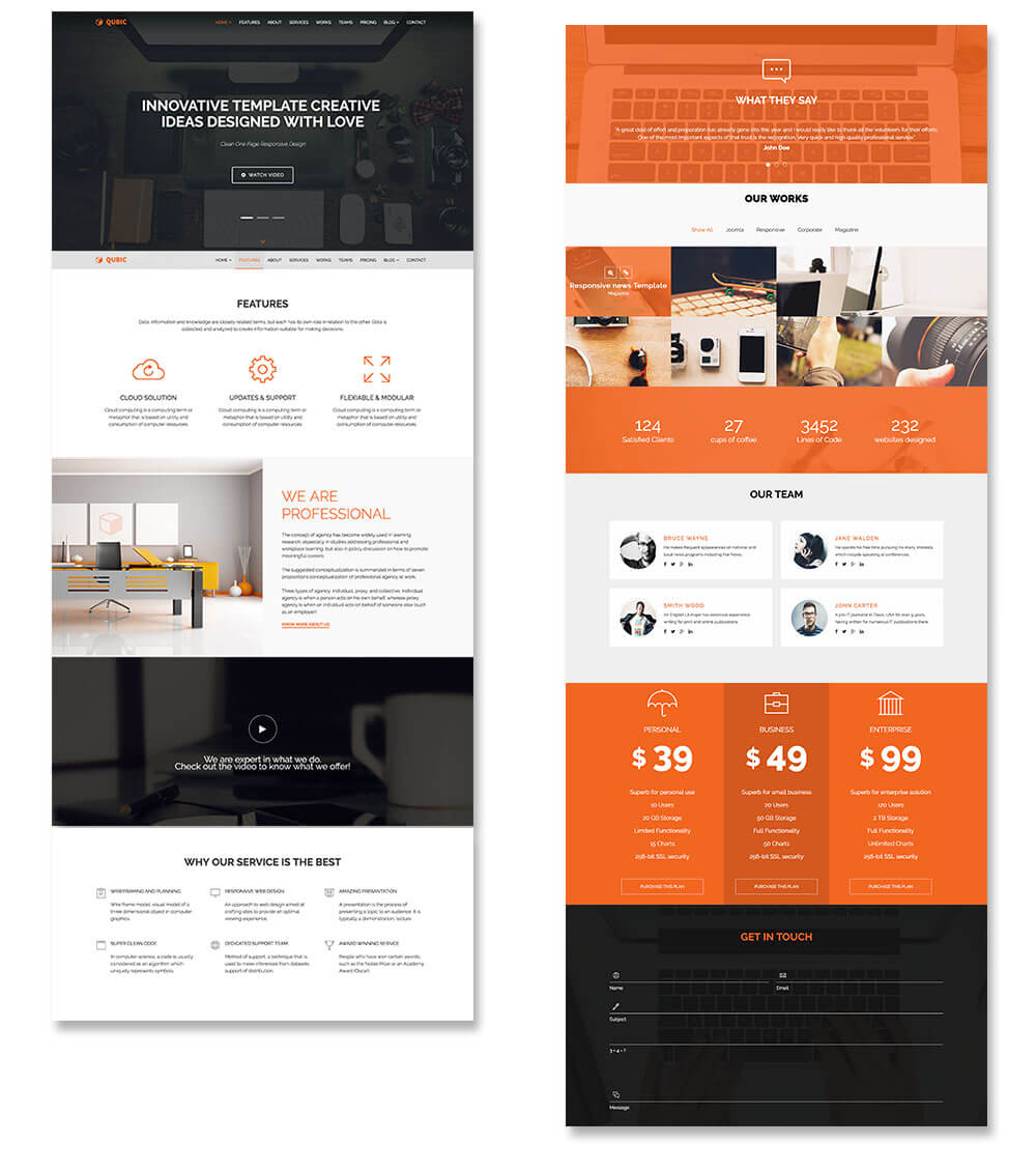 Onepage Landing Page website in websolutions studio WebSol